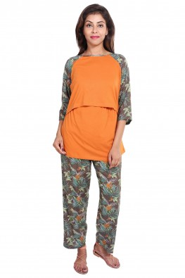 Tropical print nursing nightsuit set
