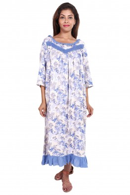 Purple floral summer nursing nighty
