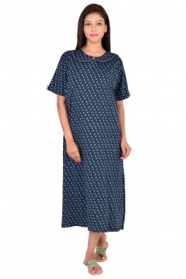 Printed hosiery nursing nighty with front layered