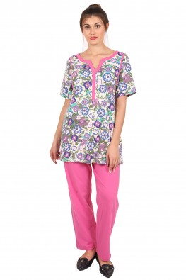 9teenAGAIN Women's Hosiery Nursing Nightsuit (Multicolor)