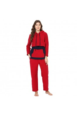 9teenAGAIN Women's Fleece Nursing Nightsuit (Red & Navy)