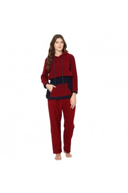 9teenAGAIN Women's Fleece Nursing Nightsuit (Maroon & Navy)