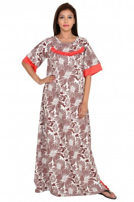 9teenagain brown floral printed overlap nursing nighty