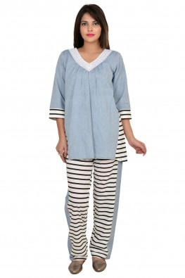 9TEENAGAIN BLACK  & WHITE STRIPES PRINTED NURSING NIGHT SUIT