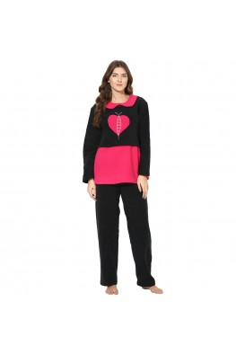 9teenAGAIN Women's Fleece Nursing Nightsuit (Pink & Black)