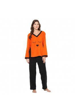9teenAGAIN Women's Fleece Winterwear Nursing Nightsuit (Orange & Black)