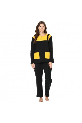 9teenAGAIN Women's Fleece Winterwear Nursing Nightsuit (Black & Yellow)